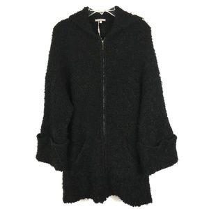 Uterque BLack Wool Long Cardigan Sweater Zip Sz L